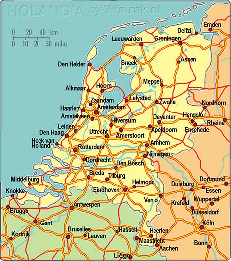 mapa Holandii
