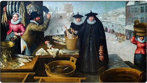 mieszczanki na rynku, XVII wiek